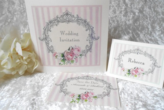 Vintage Wedding Invitation Save the Date and Placecard (Ref 124)
