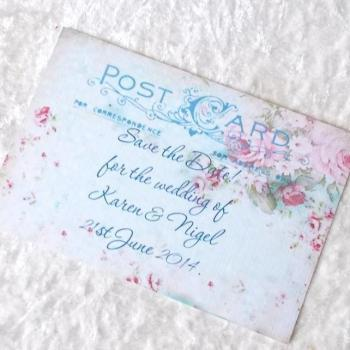 5 x Save the Date Cards - Angeline Vintage Style (Ref 214)