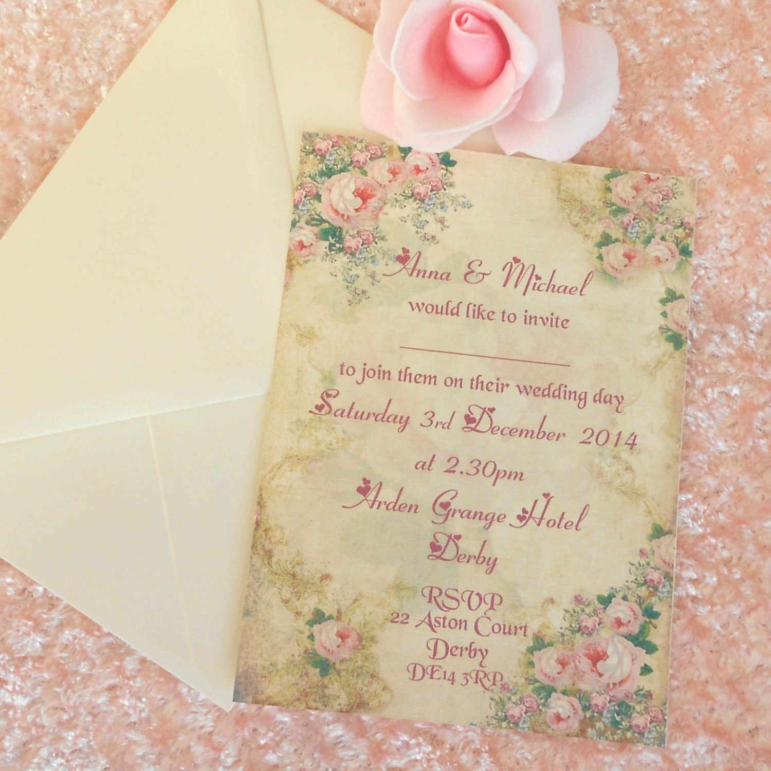... Vintage Wedding Invitation Shabby Romantic Roses (Ref 96) X 5 ...